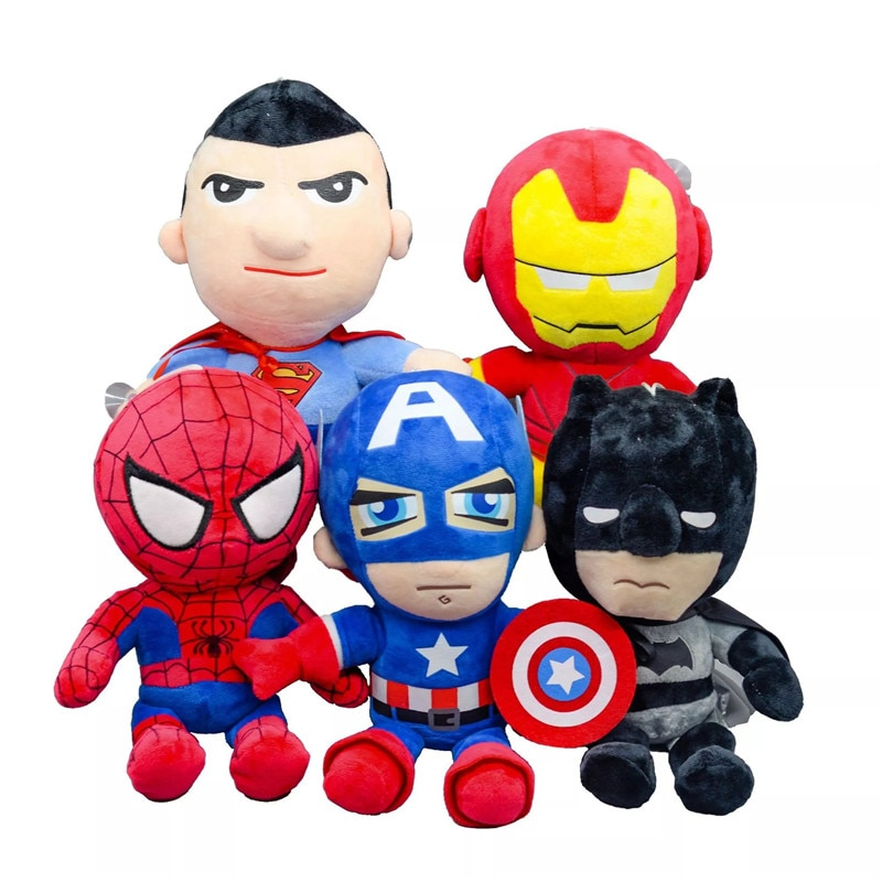 Лидер продаж, 27 см, Мстители Marvel, мягкие плюшевые игрушки Капитан Америка, Железный Человек-паук, детские игрушки