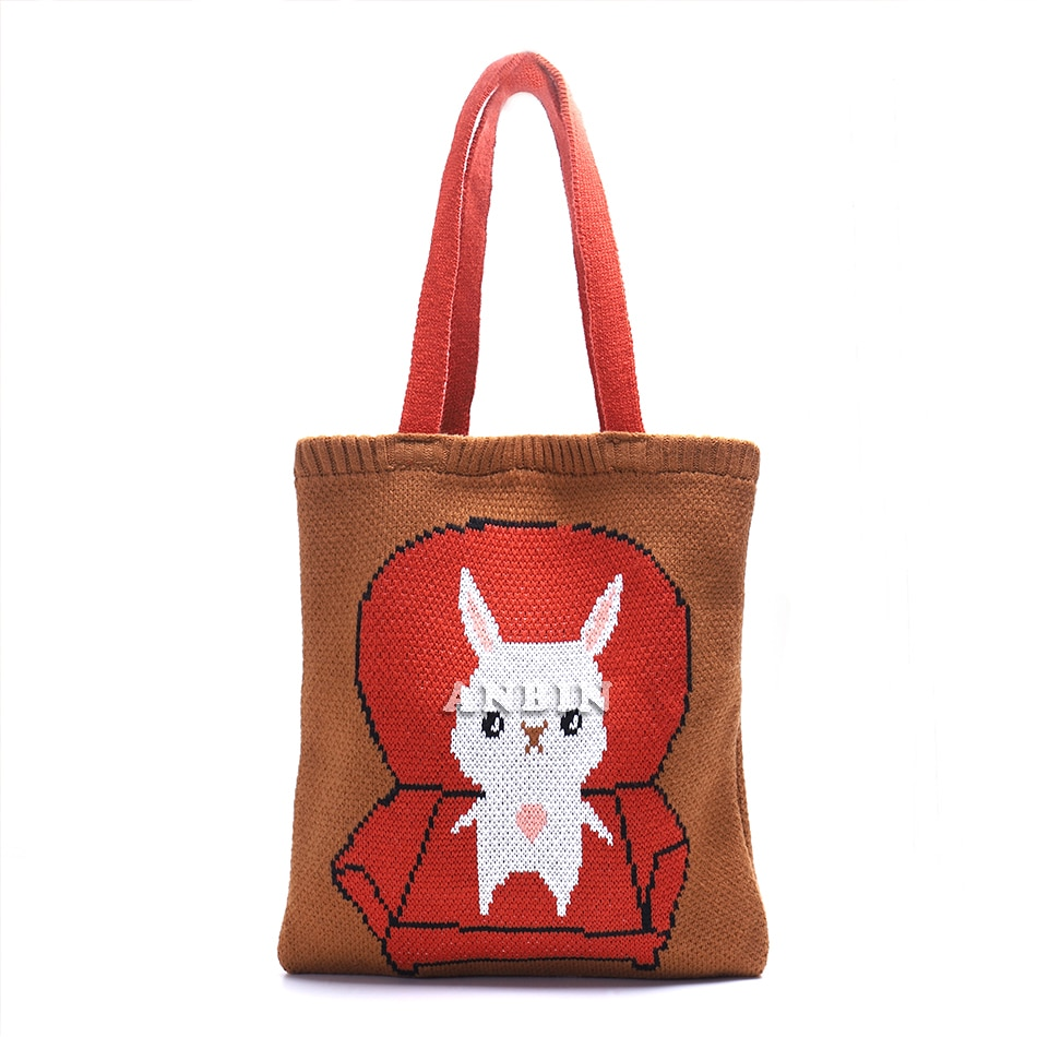 Winter Knitting College style Shoulder Bag Women Crochet Woolen Open Shopper Top-handle Bag Female D