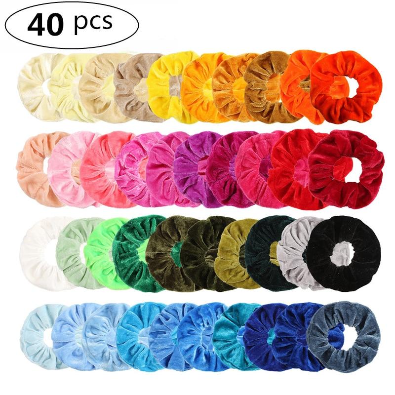 24/40 Pcs/Set Vintage Hair Scrunchies Stretchy Velvet Scrunchie Pack Women Elastic Hair Bands Girl Headwear Rubber Hair Ties