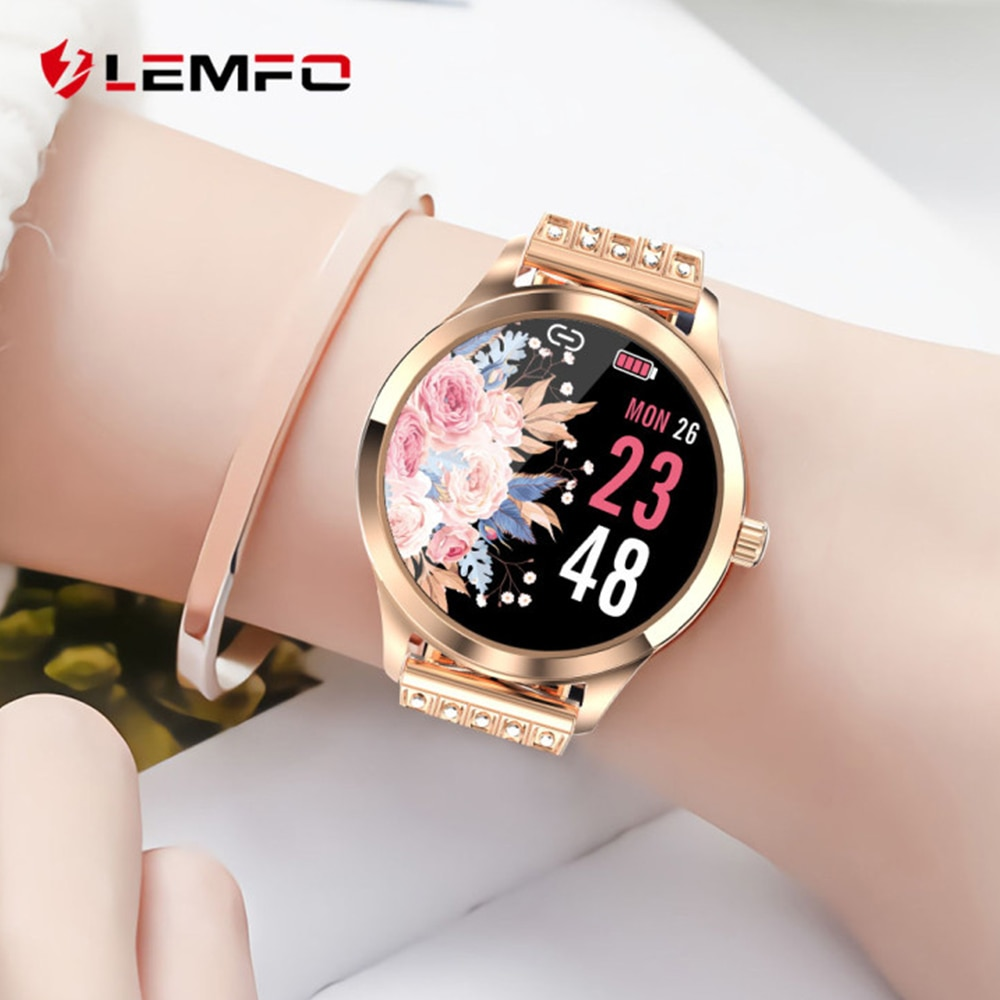 LEMFO LW07 Smart Watch Women 2020 DIY Watch Face Colorful TFT Screen Health Monitoring Smartwatch Ladies for Android IOS