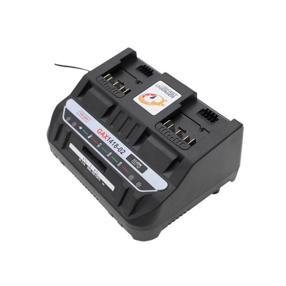 Dawupine Li-ion chargeur de batterie double port chargeur 4A pour Bosch 18V 14.4V perceuse électrique batterie BAT618 BAT614 GAX1418-02