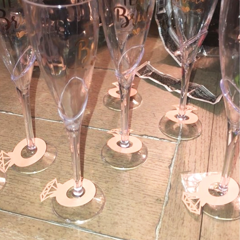 Бумажные кольца с бриллиантами, 12 шт., для декора свадебного стола, девичника, девичника