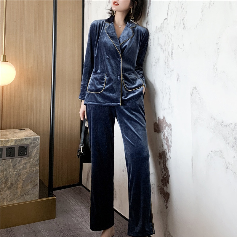 الأزرق النساء منامة دعوى ملابس خاصة بدوره إلى أسفل طوق الملابس الداخلية القطيفة الخريف الشتاء Bathrobe كيمونو ثوب 2 قطعة ملابس نوم المنزل