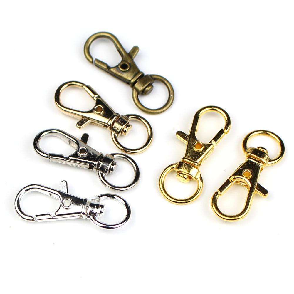 Раздельный брелок для ключей, поворотный замок с карабином, цвет золото/серебро/родий, аксессуары «сделай сам», 20 шт./лот