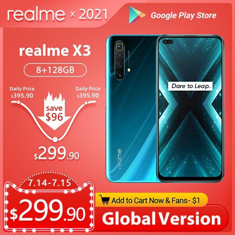 Realme X3 мобильный телефон Глобальная версия суперзум 8 ГБ 128 Snapdragon 855 + 120 Гц Ди