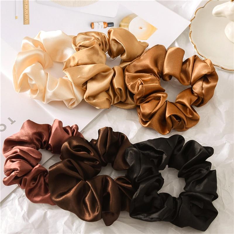 6 uds accesorios para el cabello lazos Scrunchies paquete cabello liso Floral de gasa de las mujeres de moda de terciopelo sólido tiras 6 uds/núm.