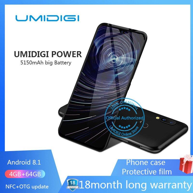 Original New UMIDIGI Power Android 9.0 4GB 64GB Helio P35 Octa Core Smartphone MTK 16MP 5150mAh NFC 4G LTE 6.3'' FHD+ Cellphone