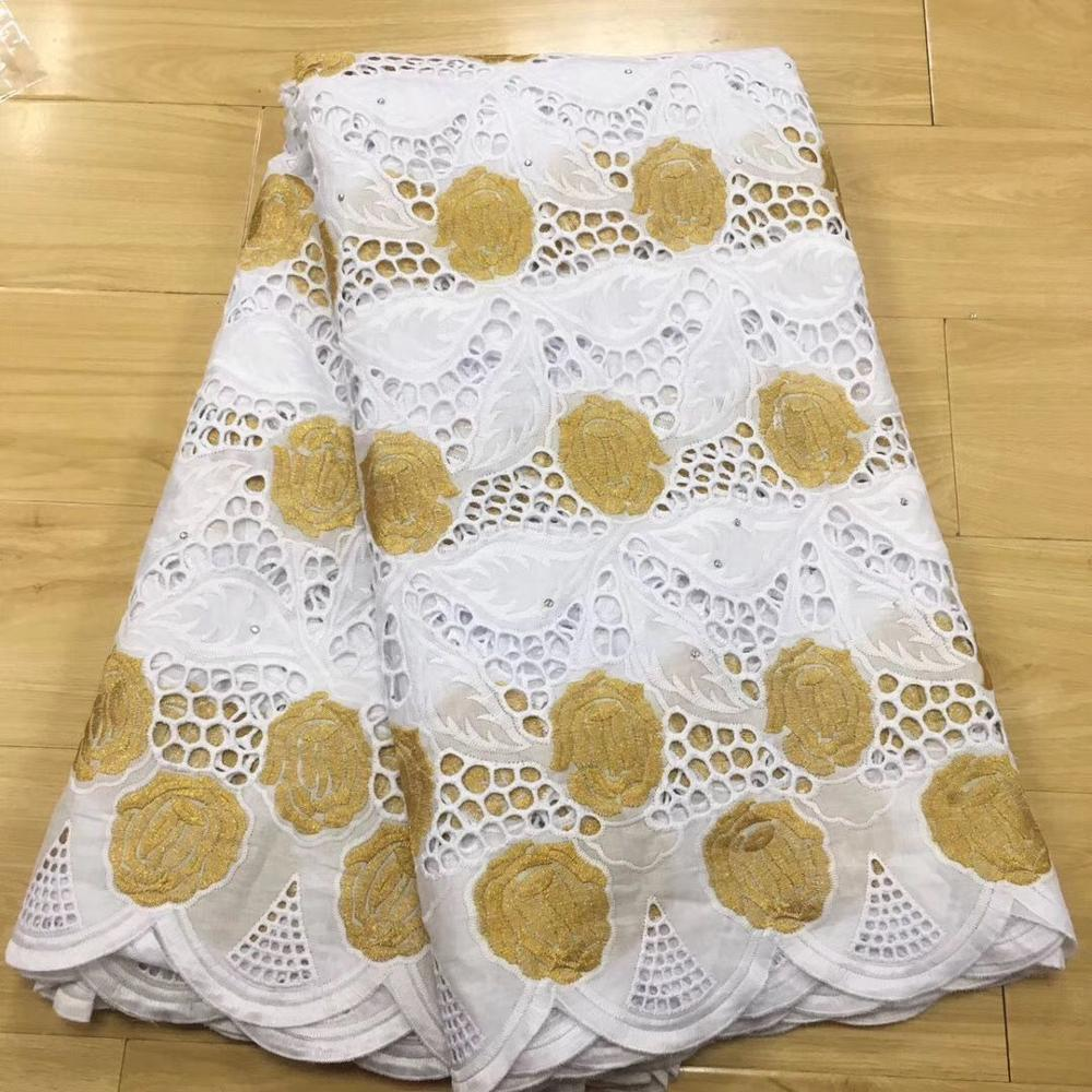 Tela de encaje blanco y dorado encaje de gasa suiza en Suiza brode coton africain robe dentelle dubai tela 5 yardas/conjunto