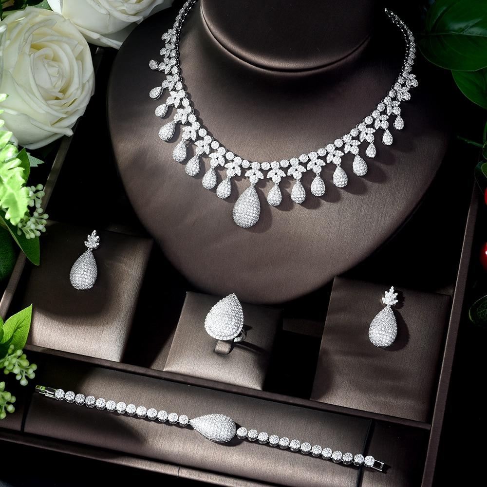 HIBRIDE Bijoux Femme Ensemble Wedding Jewelry Sets for Women Sparkling AAA Zircon Copper Fashion Bridesmaid Jewelry Set N-1125