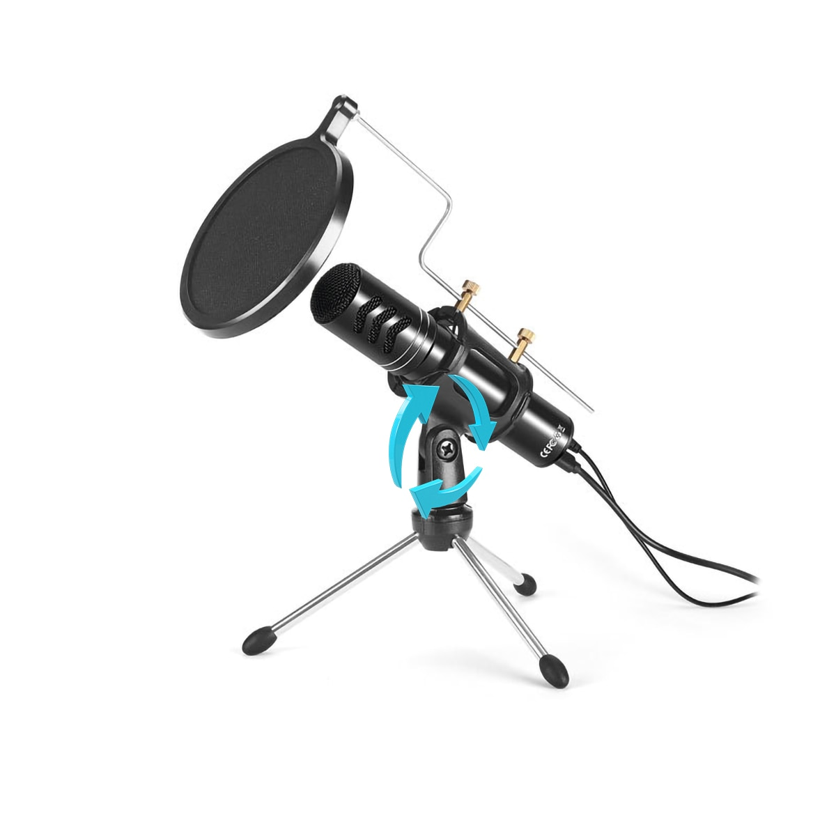 Micrófono condensador para grabación, micrófono con controlador gratuito, con tarjeta de sonido para ordenador portátil, juego en línea, transmisión por voz