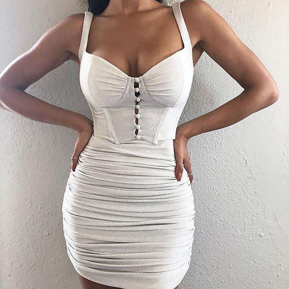 IClosam vestido blanco de lentejuelas vendaje de las mujeres Sexy Spaghetti Strap Club Minivestido de fiesta de moda de un solo pecho Bodycon Drop Ship