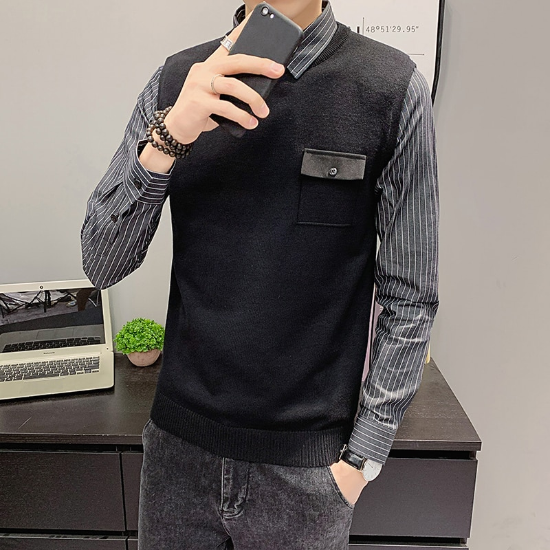 Winter men's slim fitting fake two piece striped shirt collar Pullover knitted sweater men's bottoming shirt form fitting striped shell dress