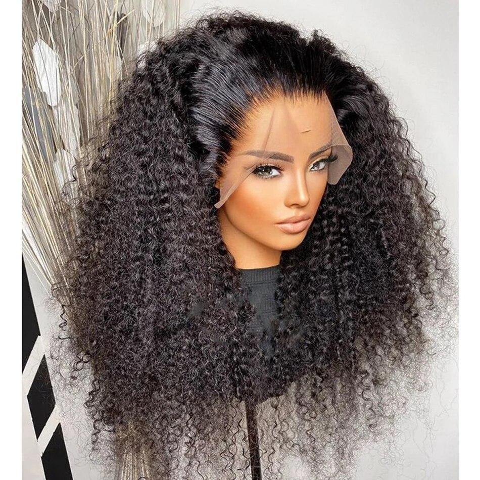180% плотность, 26 дюймов, курчавые, вьющиеся, натуральные, черные, жаростойкие, безклеевые кружева, передняя деталь для черных женщин