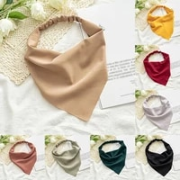 new bohemian solid bandana hair bands for women girls triangle scarf turban multifunctional headband hair accessories headwear