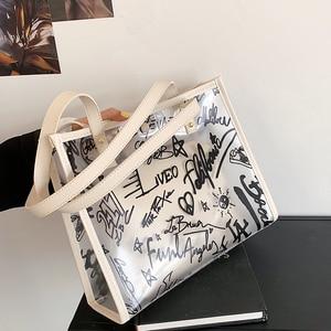 Summer large-capacity Women handbags Transparent Jelly bag Graffiti Designer Composite bag Fashion shoulder tote bag Female bags