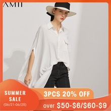 Amii Minimalism Fashion Shirt For WOmen Offical Lady Solid Loose Women's Shirt Causal Oversize Irreg