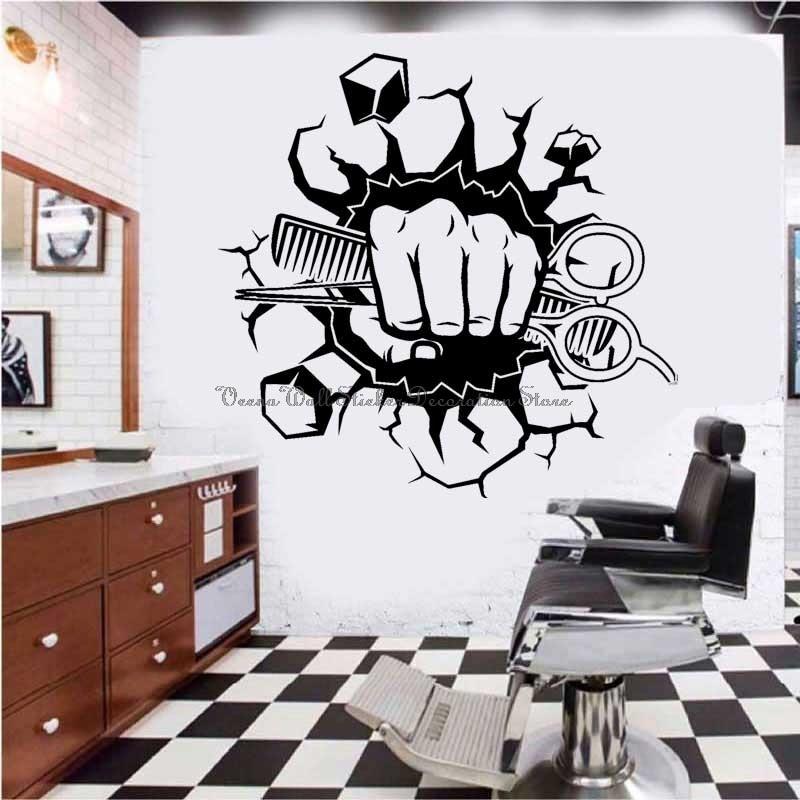 Парикмахерская Парикмахер магазин наклейки на стены мужских волос салон для укладки волос бритья бороды вывеска магазина двери декоративн...