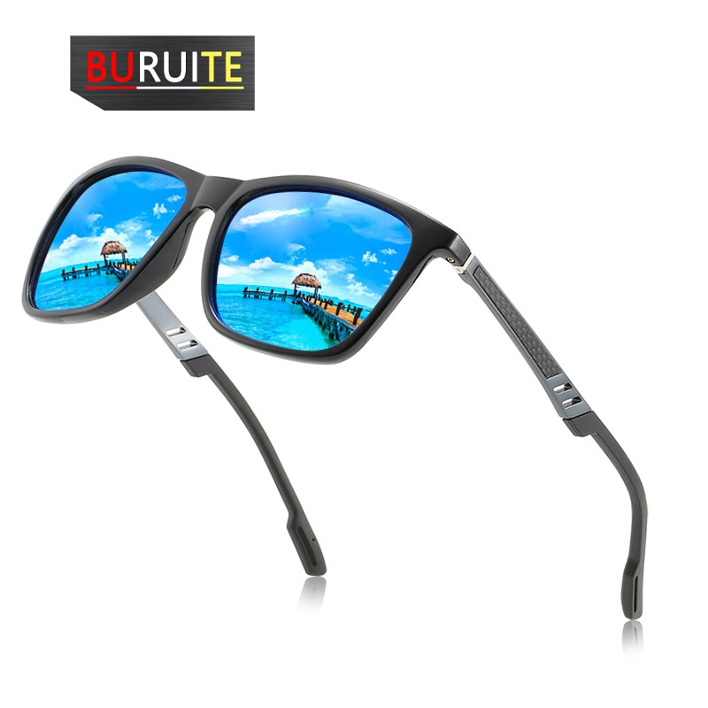 Gafas de sol polarizadas BURUITE para hombre gafas de sol de aluminio y magnesio gafas de conducción gafas rectangulares para hombres Oculos masculinos
