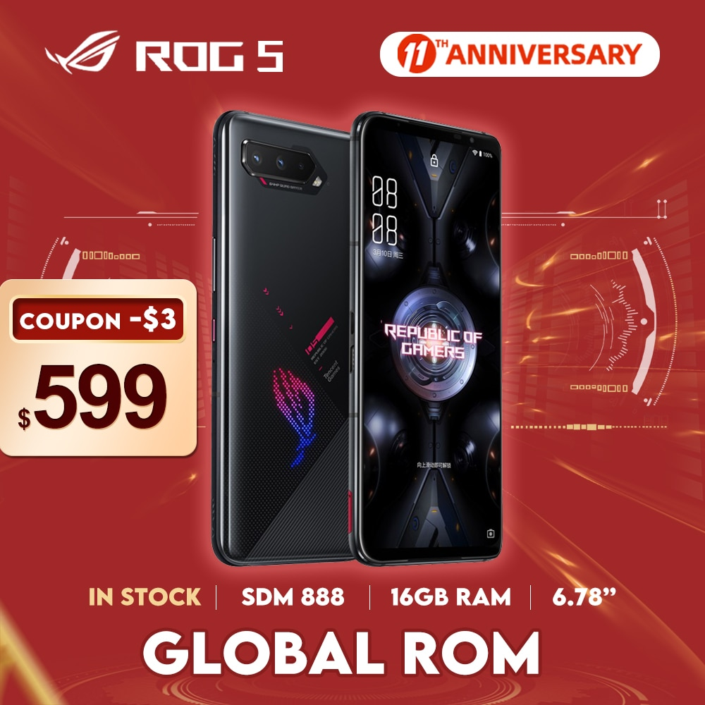 NEW ROG Phone 5 Global ROM Snapdragon888 128/256GB Android11 6000mAh 6.78