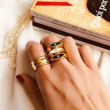 Adjusatble Ladies Vintage Gold Color Blue White Black Enamel Ring Sets For Women Minimal Evil Eye Gold Rings For Party