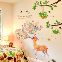 shijuehezi tree branch leaves wall stickers diy deer animal wall decals for living room kids bedroom kitchen home decoration