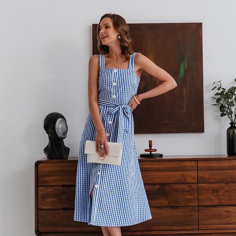 Simplee Casual Blue Plaid Spaghetti Strap Dress Casual Lace-up Beach Summer Women Sundress 2021 Button Sleeveless Maxi Vestidos