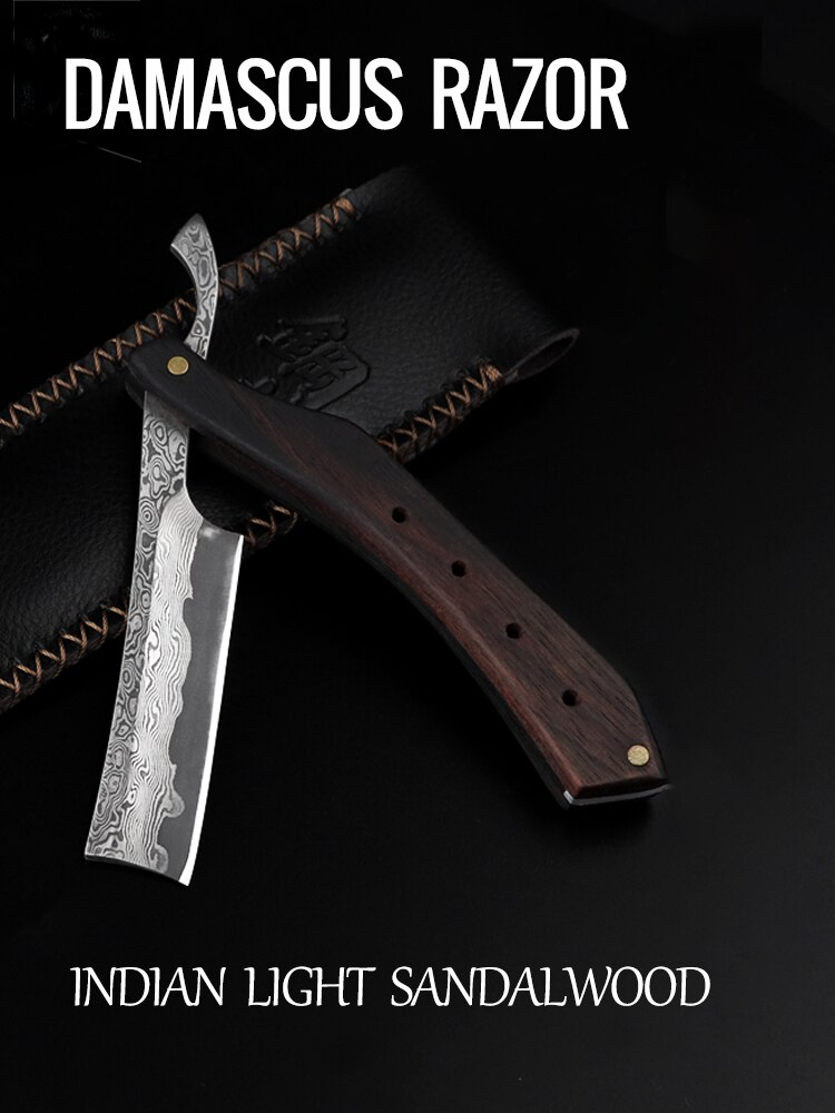 Retro Damascus Razors Are Made By Hand Gold High Damascus Steel Folding S-Afety Straight Barber Razor Sandalwood Handle G0527