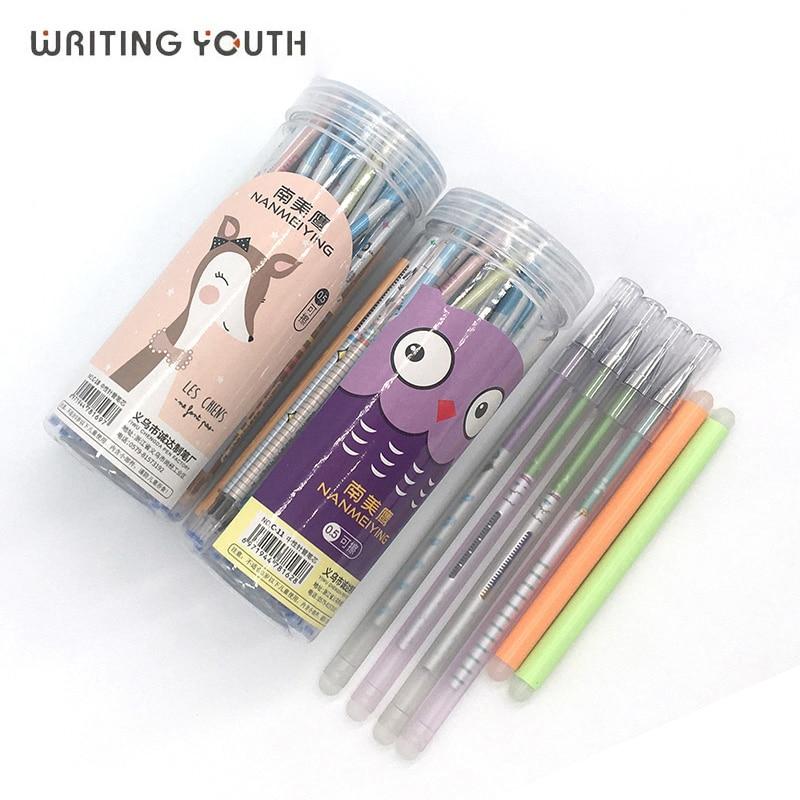 Juego de bolígrafos de gel borrables de dibujos animados de 0,5mm, barras de bolígrafo borrable recargable, mango lavable de tinta azul y negra para papelería escolar, escritura de oficina