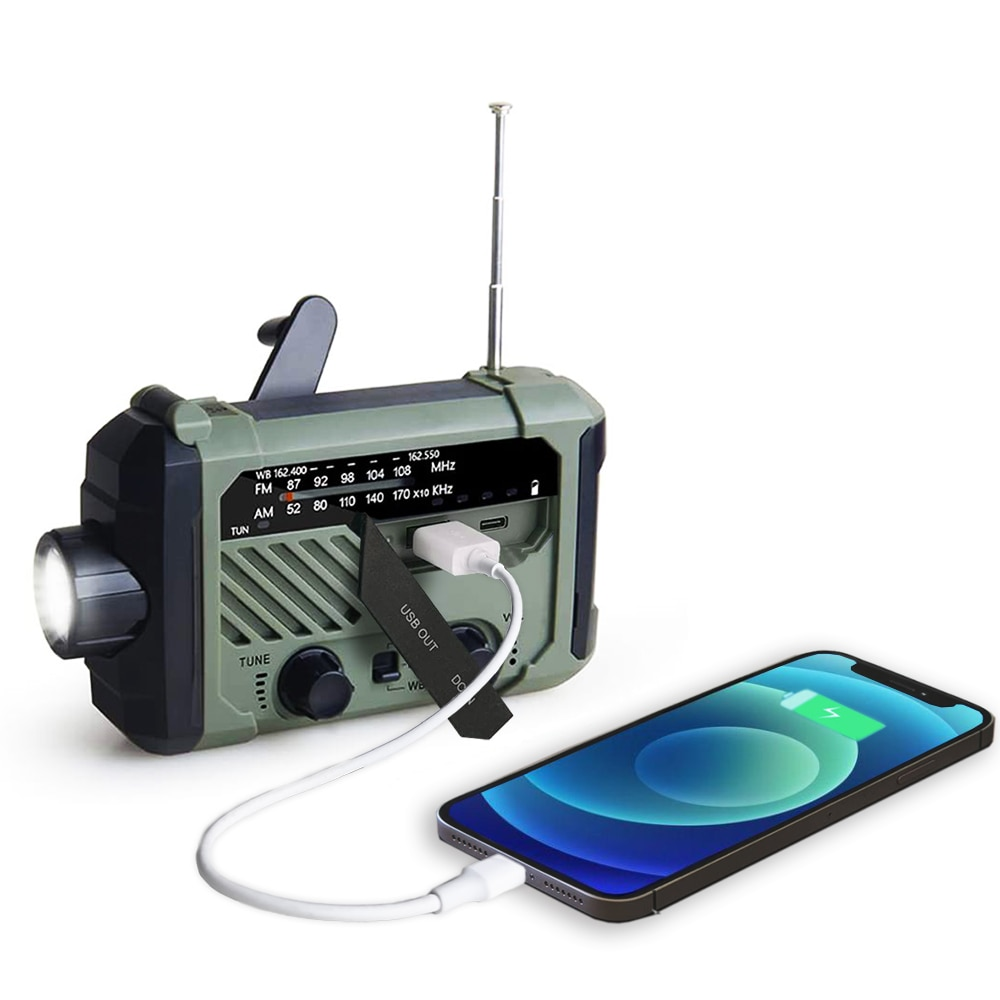 Portable Radio Hand Crank AM FM NOAA Emergency 3-in-1 Reading Lamp Flashlight Solar Charging 2000mAh Power Bank for Cell Phone