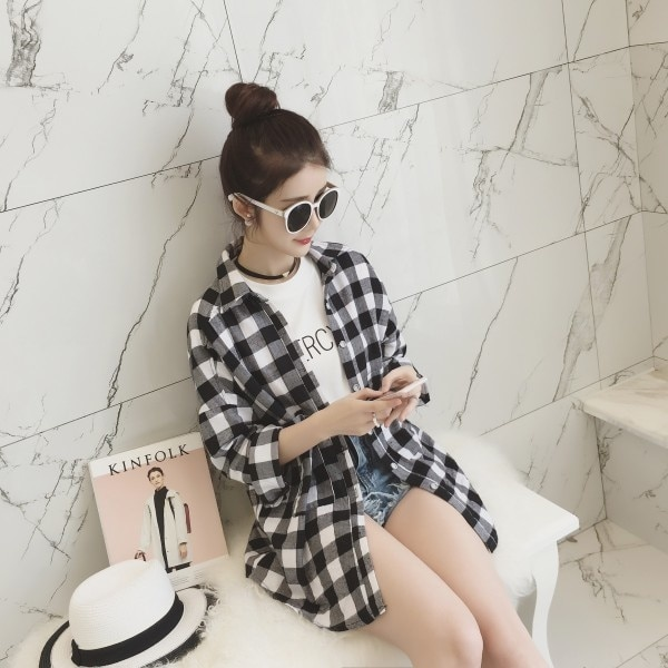 Autumn New Mid-Length Black And White Plaid Loose Long Sleeve Harajuku Shirt Women's Coat Student To