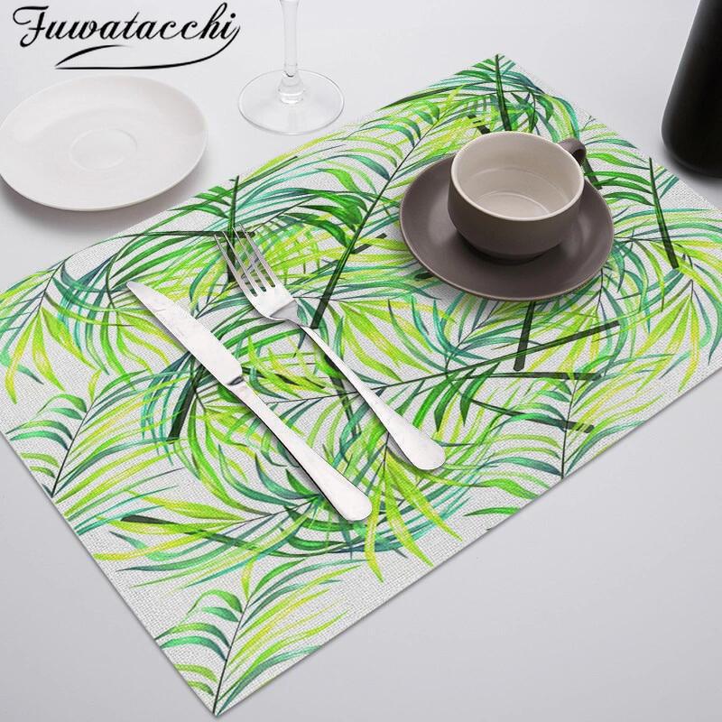 Salvamanteles Fuwatacchi con diseño de hojas verdes, salvamanteles reutilizables para mesa de comedor, manteles individuales para cocina, restaurante, vajilla, tazas de té, posavasos