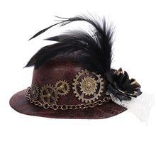 Mini sombrero de copa gótico de Halloween, Steampunk, engranajes, cadena, pluma, Cosplay, pinza para el pelo X7YA