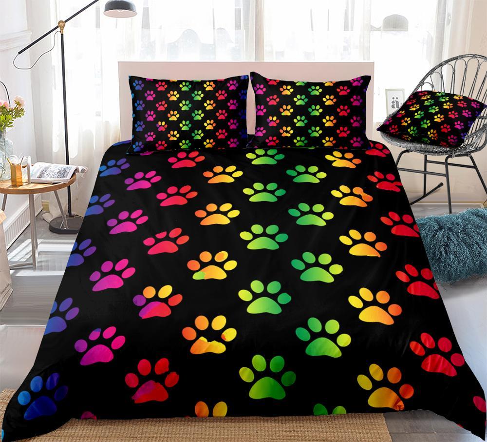 Juego de fundas de edredón con patas de arco iris, ropa de cama con dibujos animados para mascotas, funda de colcha de colores para niños y niñas, juego de cama de Reina negra