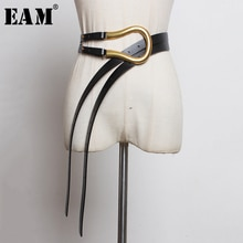 [EAM]  Pu Leather Black Multicolor Long Wide Leg Belt Personality Women New Fashion Tide All-match Spring Autumn 2021 1K755