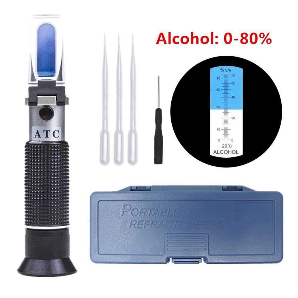 Hand Held 0-80% Alcohol Refractometer Alcoholometer Alcohol Liquor Tester ATC