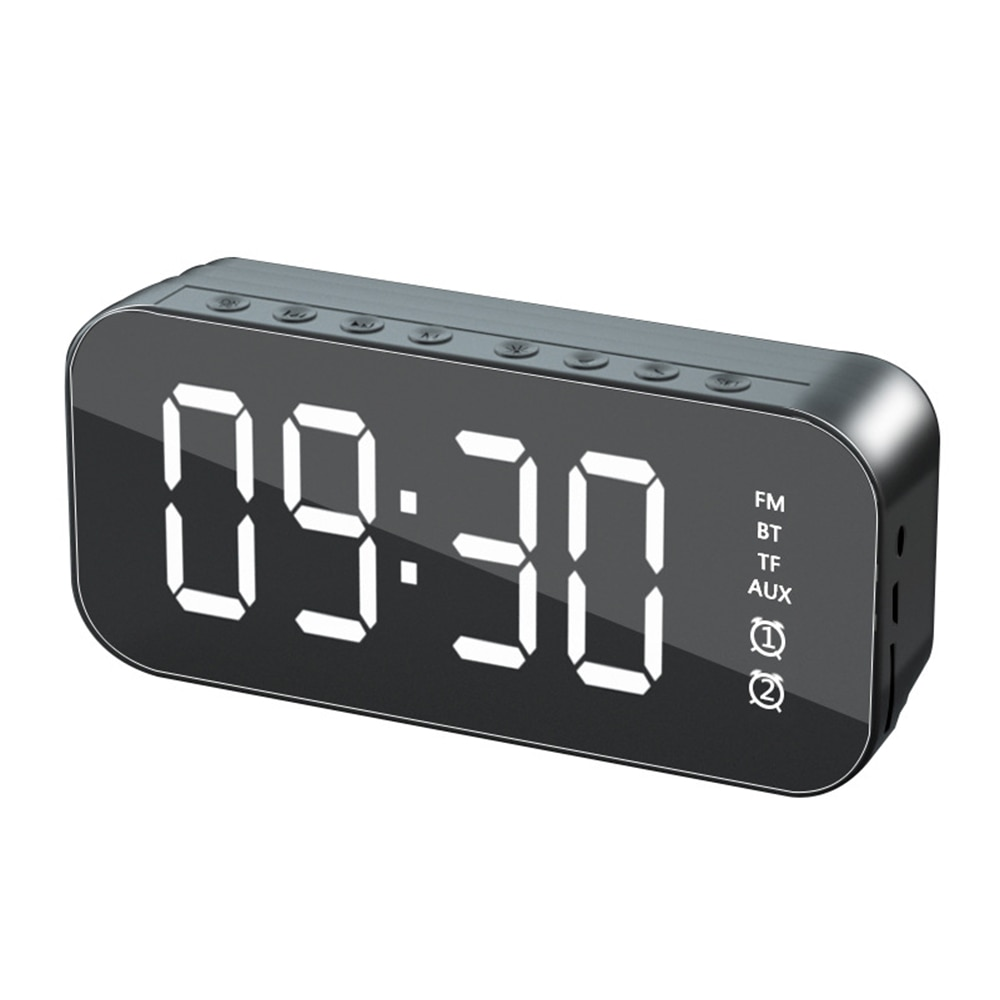 Despertador con Altavoz Bluetooth, reloj Digital con superficie de espejo, Radio para...
