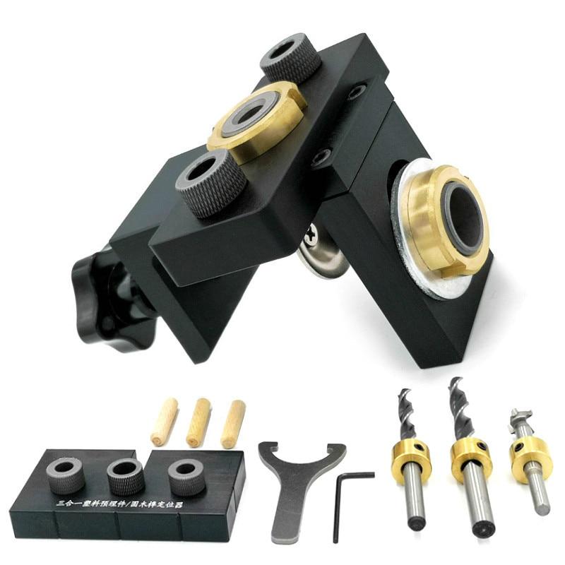 ガイドロケーターパンチャーツールをドリルするための8 / 15mmドリルビットを備えた3in1調整可能なダウエルジグ木工ポケットホールジグ