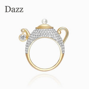 Dazz NEW Brand Name Design Luxury Teapot Gold Color Ring AAA Zircon Pearl Jewelry For Men Women Party Holiday Birthday Gift 2019