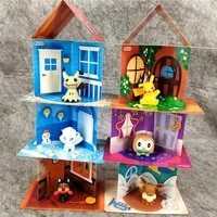 6 pcs pokemon toy house pocket monster pikachu house action figure model game blind box pok%c3%a9 anime toy for kid