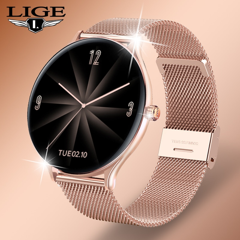 LIGE 2021 New Fashion Women Smart Watch 2021 Full Touch Round Screen Smartwatch for Woman Heart Rate