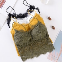 Women Push Up Floral Camisoles Sexy Lace Tank Tops Sexy Wire Free Bralette Crochet Tank Tops