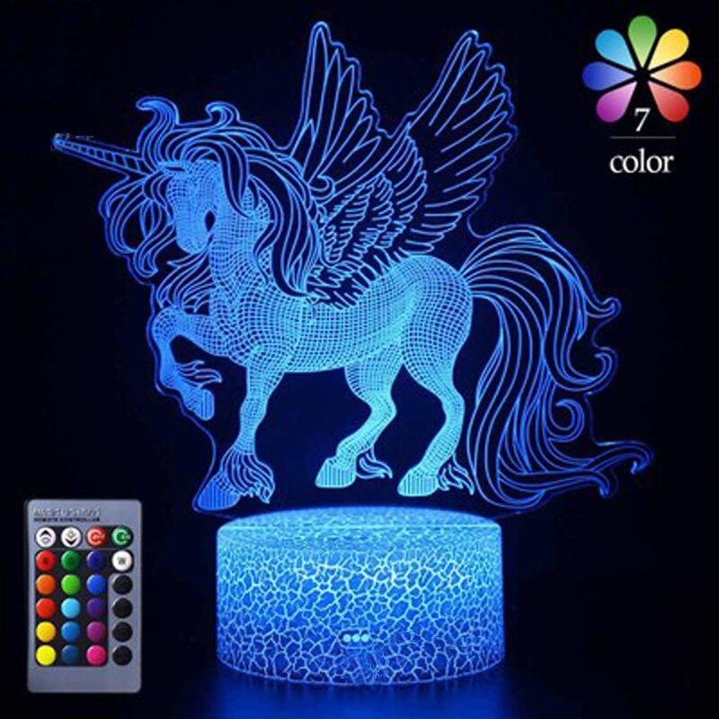 16 colores 3D luz de noche con Control remoto Animal en forma de lámpara 3D ilusión dormitorio decoración noche lámpara de mesa regalos de navidad