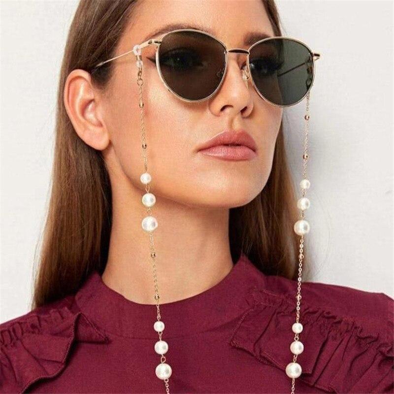 Gran oferta de moda, cadena y cordones de gafas de perlas doradas, gafas de sol de buena calidad, gafas de lectura, cadena con correa para el cuello