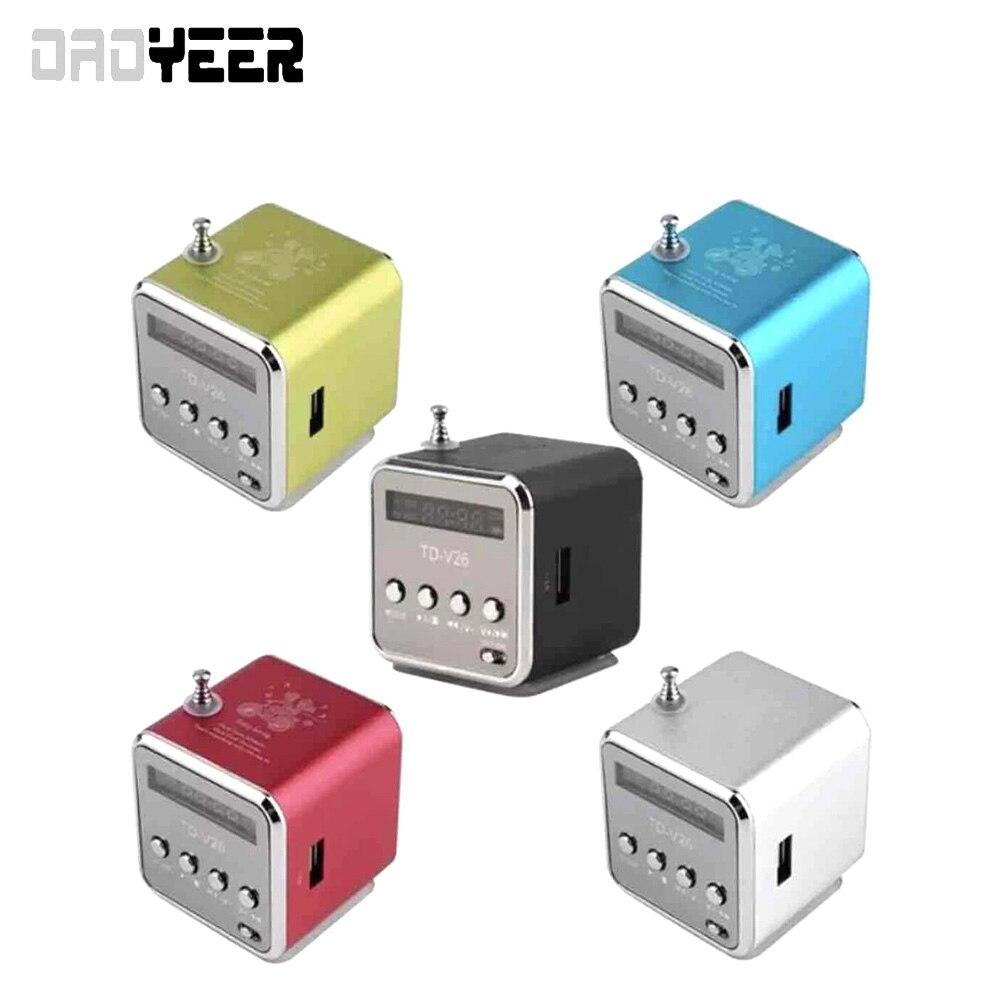 Miniradio FM de aluminio TD-V26, receptor SD TF, USB, reproductor estéreo, Altavoz...