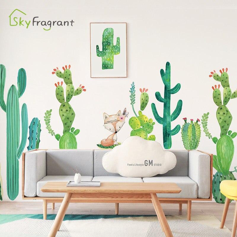 Наклейка на стену кактуса и лисы самоклеющиеся наклейки Декор для спальни украшение для гостиной диван ТВ фон настенный Декор для дома