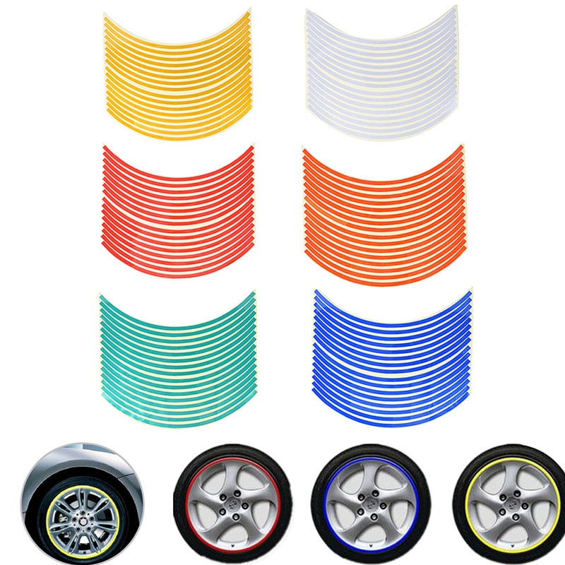 1pc motorcycle accessories 1pc Car Reflective Stickers 18 Inch Wheel Rim Sticker Tire Protection Decoration Motorcycle Accessories