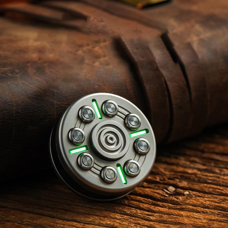 MUYI Titanium Zirconium Alloy Pop Coin Push Button EDC Fingertip Gyro Decompression Toy enlarge