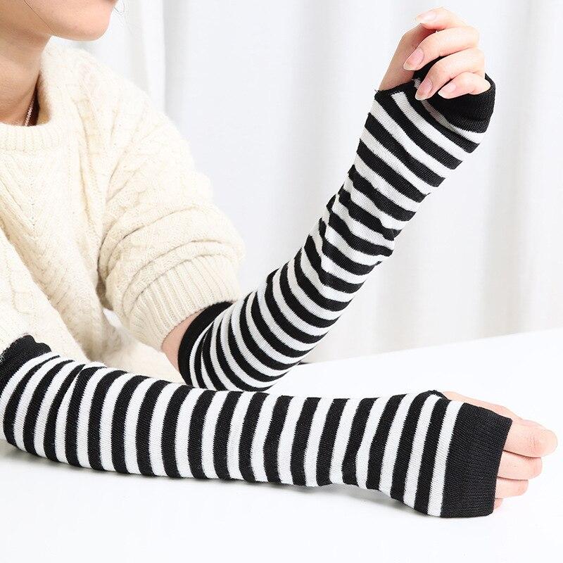 Модные длинные женские перчатки эластичные вязаные полосатые перчатки без пальцев зимняя рукавица теплые мягкие женские перчатки для вожд...