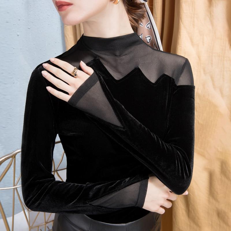 New Design Autumn And Winter Velvet Stitched Mesh Bottomed T Shirt Women's Top 21-1442 khaki crushed velvet flounced design t shirt sweatpant bundle