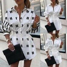 Long Sleeve Women Shirt Dress Elegant Lady Autumn Casual Loose Dress Vestidos Tops Mini Slim T-shirt Dress Clothing For Women